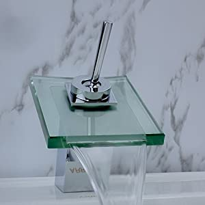 LightInTheBox Single Handle Glass Waterfall Brass Bathroom Undermount Sink Faucet, Chrome
