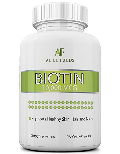 """High Potency Biotin Supplement + """"Nutrition For Skin"""" Guide - Contains 90 Biotin 10000 mcg capsules - Prevents Hair Loss, Helps in Faster Hair Growth and in maintaining Healthy Skin and Nails"""