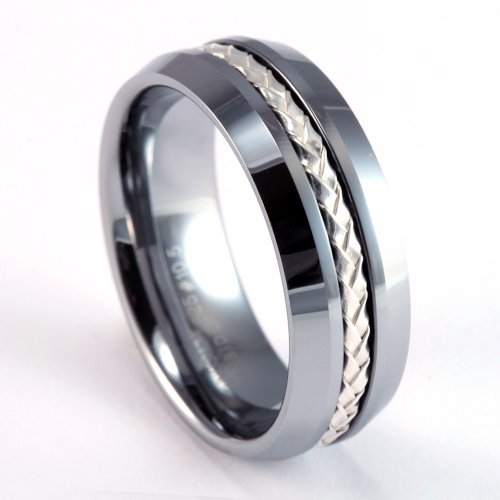 8mm Mens / Woman's Tungsten Carbide Wedding Band / Ring with .925 Silver Braided Inlay