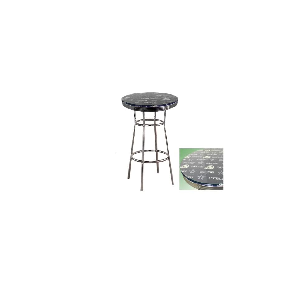 New Chrome Finish Metal Round Bar Table with Glass Table Top & Dallas Cowboys NFL Football Theme   Dallas Cowboy Furniture