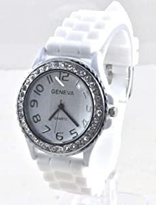 Silicone Gel Ceramic Style Jelly Band Crystal Bezel Womens Watch White/Clear from Geneva