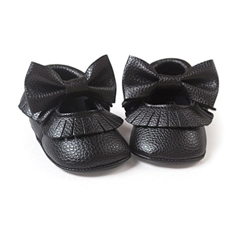 Voberry Infant Toddlers Baby Boys Girls Soft Soled Bowknot Tassel Crib Shoes PU Moccasins (12~18 Month, Black)