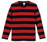 (ユナイテッドアスレ)UnitedAthle 5.0オンス ボールドボーダー 長袖Tシャツ 551901 2050 ブラック/レッド M