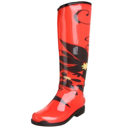Beautiful Rain Boots for Women:dav Women's English Rain Boot,Picnic Red Lotus,Small (Women's 4-5 M)