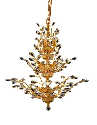 Elegant Lighting 2011D27G/RC Orchid 27-Inch High 13-Light Chandelier, Gold Finish with Crystal (Clear) Royal Cut RC Crystal Elegant Lighting B0042G0RK6