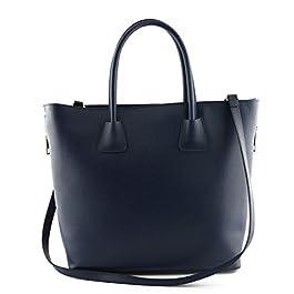 Sac Shopper En Cuir Véritable Pour Femme, 2 Glissières Latérales Bleue - Maroquinerie Fait En Italie - Sac Femme