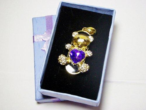 Cute Gold Teddybear Purple Heart Necklace Design