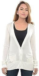 Estance Viscose Solid White Cardigan
