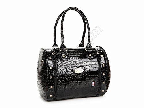Petsmartpm 132BK Black Crocodile veins Leather Dog Carriers Bag Pet Totes Purse Puppy Handbag Cat Cage Doggy Pouch