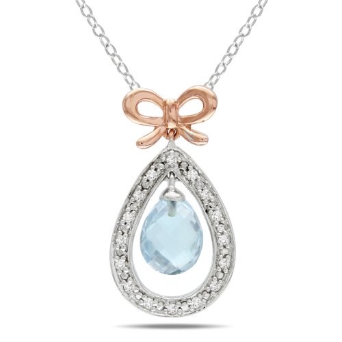 Sterling Silver Pink Rhodium Plated Diamond and Blue Topaz Pendant (.1 cttw, GH Color, I2;I3 Clarity), 17