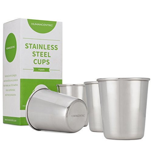 Stainless Steel Cups for Kids and Toddlers - Set of Four 8 oz BPA Free Cups - by HumanCentric (Stainless Steel Childrens Bowl compare prices)