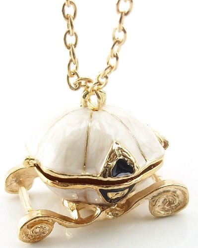 Betsey Johnson Inspired & Disney Inspired Pearly Cinderella Pumpkin Carriage Locket Necklace - Ships Within 1 Business Day from AZ, USA