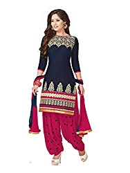 PShopee Navy Blue & Dark Pink Cotton Embroidery Unstitched Patiala Dres Material