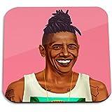 Barack Obama Wooden Coaster - Pop Art Modern Contemporary Decorative Art Coaster, Hipstory Project By Amit Shimoni...
