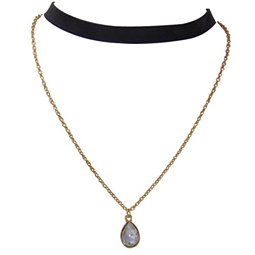 Habors Black & Gold Double Layer Pendant Choker Necklace For Women (JFND0487)