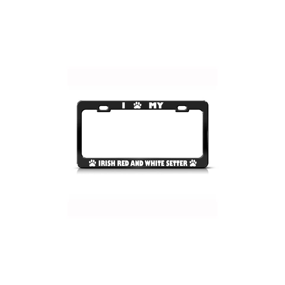 Irish Red And White Setter Dog Dogs Metal License Plate Frame Tag Holder