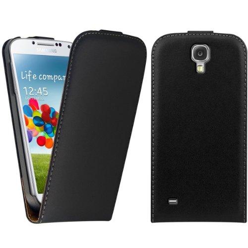 kwmobile フリップスタイル ケース カバー Samsung Galaxy S4 Mini i9190 / i9195用 ふた付き人工皮革保護ケース バッグ 黒色