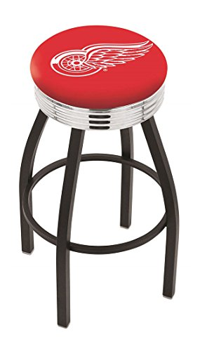 "25"""" L8B3C - NHL Black Wrinkle Detroit Red Wings Logo Swivel Bar Stool with Chrome 2.5"""" Ribbed Accent Ring-By BlueTECH"