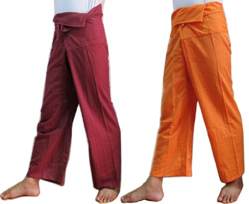 (2 Pack) Unisex 1Tone Thai Fisherman Pants Yoga Trousers Free Size Cotton