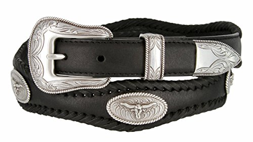 Mens Open Range Steer Western Cowboy Belt with Matching Conchos and Oil Tanned Leather Strap(BLK,38)