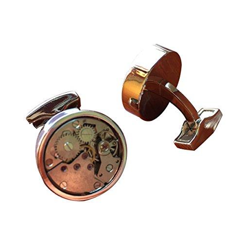 Silber Armbanduhr Uhrwerk Herren Mannschettenknöpfe Uhrwerk Arbeit Steampunk Vintage Hochzeit - Manschettenknöpfe