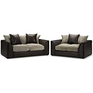 Seater Sofa Suite  Jumbo Cord Mink And Rhino Brown  3 Seater