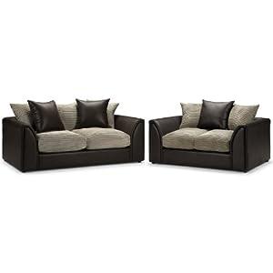 Seater Sofa Suite  Jumbo Cord Mink And Rhino Brown  3 Seater