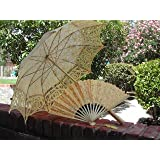 Yellow Wedding Lace Parasol with Lace Fan