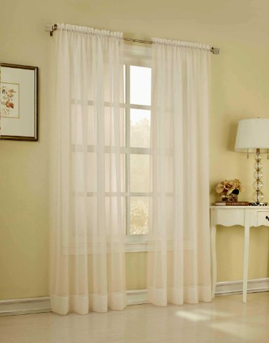 Élégance 2-Piece Solid Sheer Window Curtains/Drape/Panels/Treatment, 58 by 63-Inch, Ivory