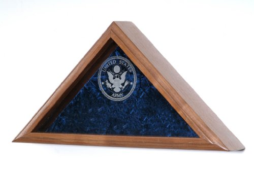 Military Veteran Burial Flag Display - INCLUDES Military Service emblem laser engraved on the glass front - For Funeral / Casket Flag (Army Emblem) (Flag Display Case Army compare prices)