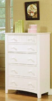 Bedroom Storage Chest with Five Drawers in White Finish