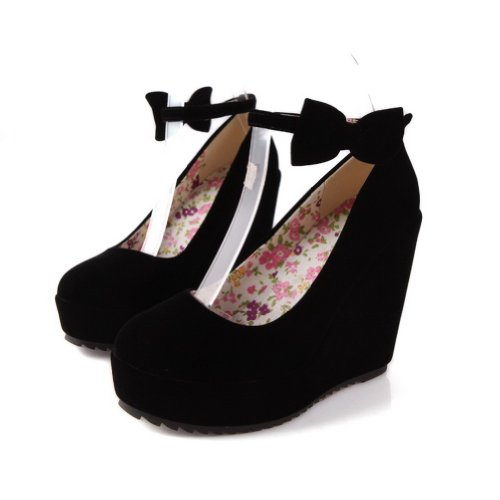 Maymeenth Womens Closed Round Toe Wedges PU Frosted Solid Pumps whith Bandage