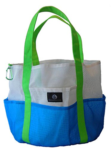 Saltwater Canvas, LLC || The Original Mesh Whale Bag, White and Bright Blue