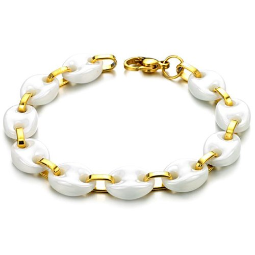 Opk Jewellery Fashion Adjustable Unisex Tennis Bracelets White Oblate Ceramic And Gold Plated Stainless Steel Link Chains Wristband Wholesale 7.87 Inch Length 10mm Width 30g Weight