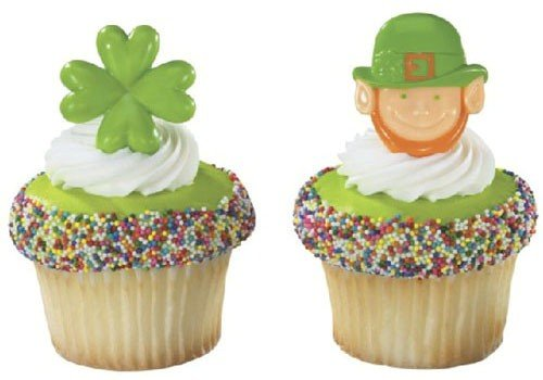 12 ct - St. Patrick's Day Shamrock and Leprechaun Cupcake Rings