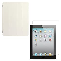 DMG Ultra Slim Magnetic Smart Shell Stand Cover Case for Apple iPad 2/3/4 (White) + Tempered Glass Screen Protector
