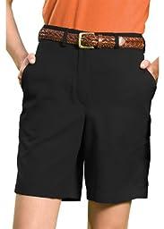 Edwards Garment Women\'s Wrinkle Resistant Flat Front Short, Black, 4