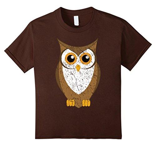 Kids Owl Shirt Distressed Look 10 Brown