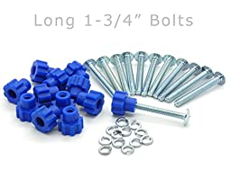 Pet Carrier Fasteners - Blue 16 Pack (Long 1-3/4\