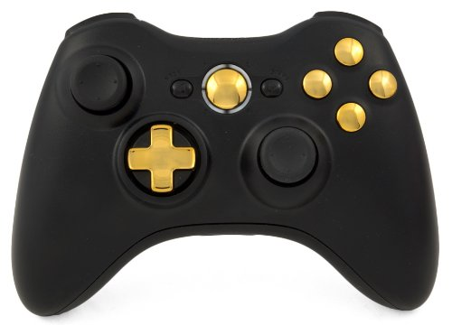 Drop Shot, Auto-Aim, Jitter Xbox 360 Modded Controller Cod Mw3, Black Ops 2, Mw2, Rapid Fire Mod (Black/Gold Transforming Dpad)