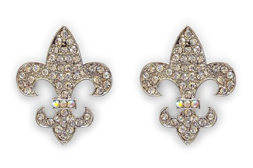 Sassy Clips Large Fleur De Lys with Clear Crystal Rhinestones