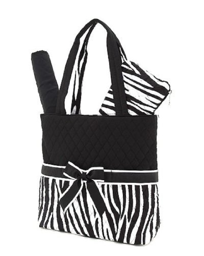 Belvah Quilted Zebra Print 3Pc Diaper Tote Bag (Black/White)