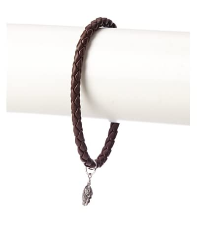 Link Up Brown Woven Leather Bracelet