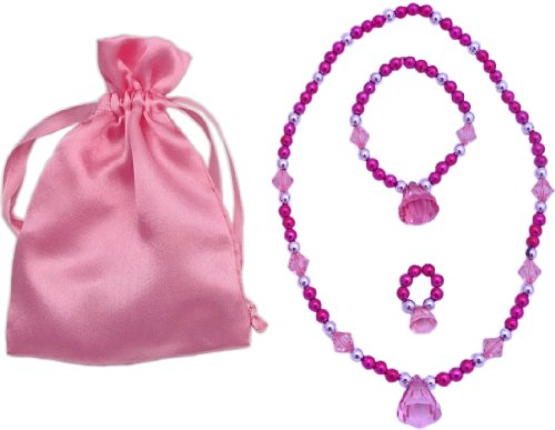 Hot Pink Princess Dress up Jewelry Set (Necklace, Bracelet, and Ring in a Pink Satin Bag). Great Girl's Stocking Stuffers.