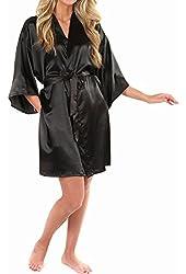LAPAYA Women's Kimono Robe Knee Length Bridal Lingerie Sleepwear Short Satin Robe