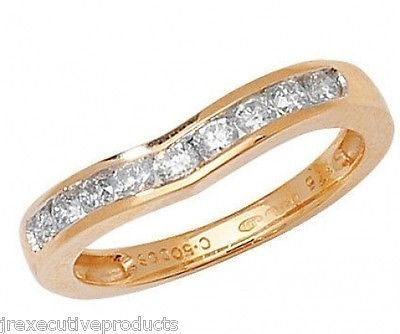 9ct Yellow Gold Diamond Soft Wishbone Eternity Ring 0.50ctw sizes G - W