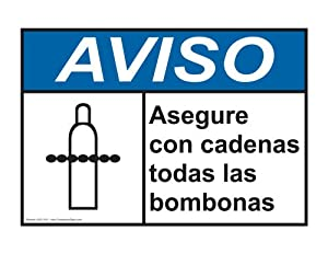 Amazon.com : ANSI NOTICE Chain All Cylinders Securely Spanish Sign ANS