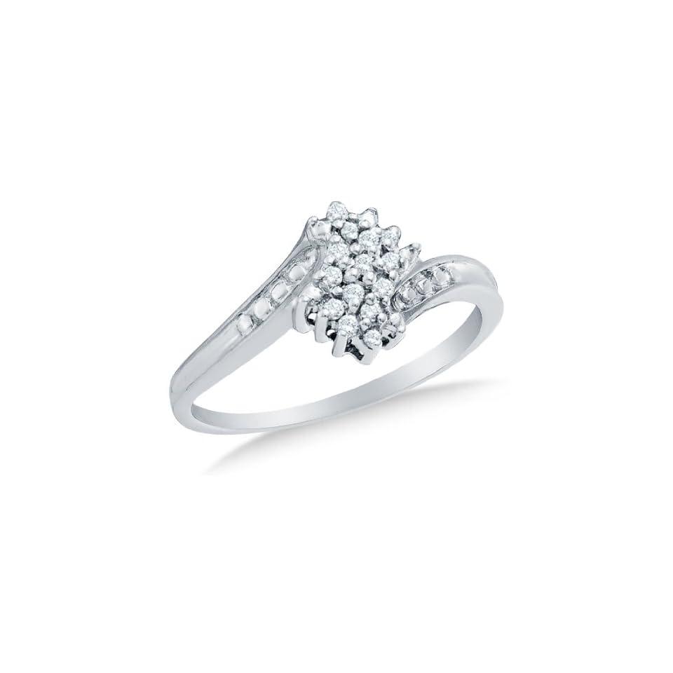 10k Yellow OR White Gold Ladies Womens Round Diamond Cluster Ring (1/10 cttw.)