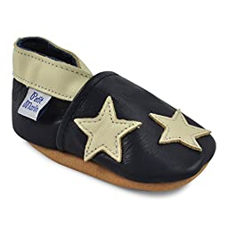 Petit Marin Beautiful Soft Leather Baby Shoes with Suede Soles - Toddler / Infant Shoes - Crib Shoes - Baby First Walking Shoes - Pre-walker Shoes - Blue Stars - 12-18 Months (20 Designs)