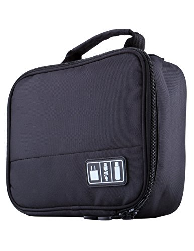Holly LifePro Waterproof Universal Electronics Accessories Carry On Bag /Pouch- Cable Organizer/USB Drive Shuttle Hard Drive Case Travel Organizer(Black-carry) (Electronic Organizer Bag compare prices)